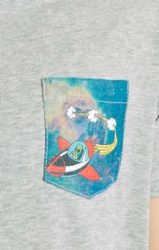 Cosmic Rocket Print Pocket T-shirt